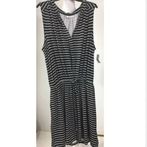Simply Emma Dress Striped Sleeveless Tie Shirt
